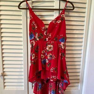 Floral hi-lo romper dress